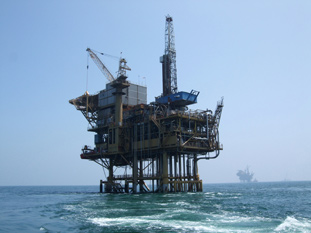 Oil platform at sea